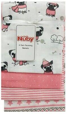 Nuby 4Pack Girl Receiving Blankets Gift Set Pink Pug