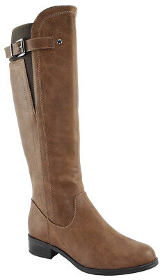 (Soda Women Buckled Flat Boots Riding Knee High Elastic Calf Camel Tan ENCINA-S)