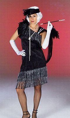 20er Jahre CHARLESTON Kostüm schwarz silber, Damen, inkl. - Zigarette Kostüme