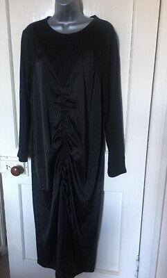 ZARA Size L UK 14 Black Jersey & Satin Ruched Front Midi Dress NEW