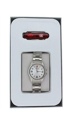 Victorinox Swiss Army Garrison Elegance Stainless Steel Watch & Ruby Lite Knife