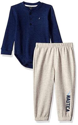 Nautica Infant Boys Navy Bodysuit & Pant Set Size 0/3M 3/6M 6/9M 12M 18M 24M
