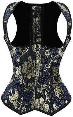 frawirshau Women's Gothic Steampunk Corset Bustier Waist, Blue-2005, Size 6.0 bw