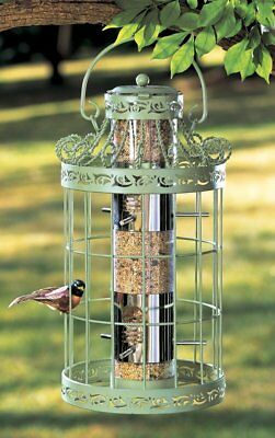"Green Springtime Hanging Metal Bird Feeder Seed Birds Garden Squirrel Proof 16""H"