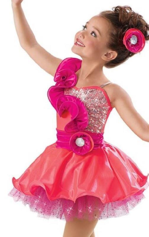 Dance Costume Child Sizes Coral/Purple Sequin Jazz Tap Weissman TRIO Weissman