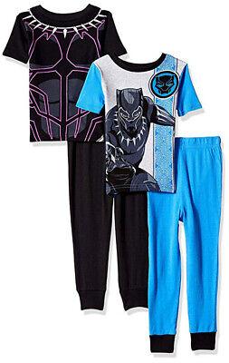 Black Panther Little/Big Boys 4pc Snug Fit Pajama Pant Set Size 4 6 8 10](Little Boys Pjs)