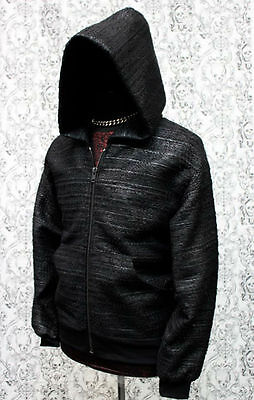 SHRINE GOTHIC ROCKER SKATER METAL TECHNO EMO RAVE ZIPPER WOVEN HOODIE JACKET Clothing, Shoes & Accessories