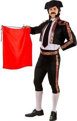 Herren Deluxe Schwarz Matador Spanisch Bulle Kämpfer Kostüm Kleid Outfit