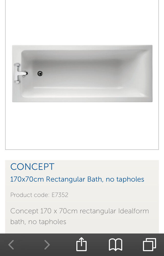 Rectangular bath for sale (taps not included)