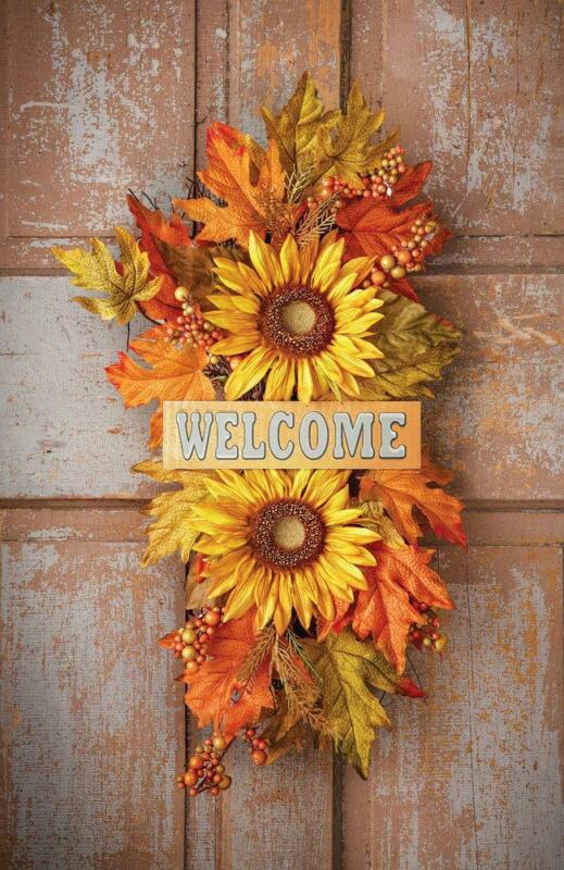 Welcome Autumn / Fall Sunflowers Swag