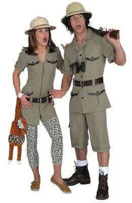 Tv Couple Costumes (Couples Ladies AND Mens Safari Explorer TV Film Fun Fancy Dress Costumes)