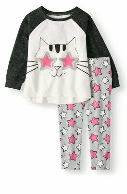 Cat Stars Glitter Girls 2 Piece Outfit Pants & Top NWT 2 or 3T Pink Gray Black  - Guy Outfits