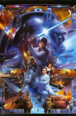 Star Wars Saga Collage Poster 22 X 34 - NO FRAME - Ships Rolled - USED Yoda R2D2
