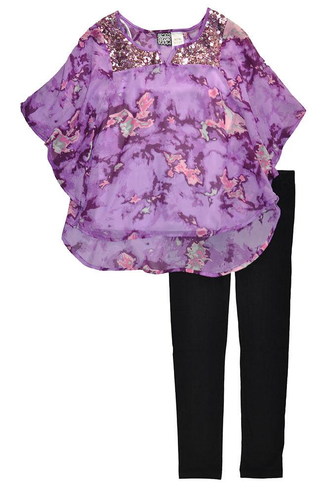 Pogo Club Big Girls Purple Top 3pc Legging Set Size 7/8 10/1