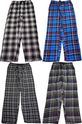 mens cotton woven plaid elastic waistband sleep