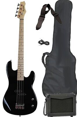 New Black Electric Bass Guitar Starter Beginner Package Amp Strap Cable Pack