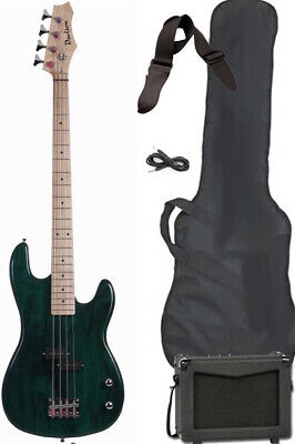 FULL SIZE Green Electric Bass Guitar Package with Amp Strap Cable & Case New
