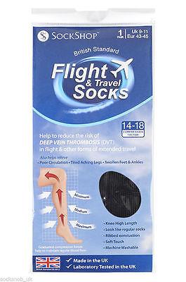 1 Pair Unisex Flight Travel DVT Compression Health Socks Size 9-11 Uk, 43-46 Eur