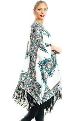 Teal M&m (Umgee Asymmetrical Print Kimono With Fringed Hemline Teal  Mix S/M)