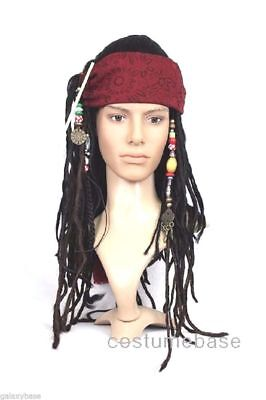 Exact Captain Jack Sparrow Pirate WIG w/ BANDANA hair dreadlock Free - Captain Jack Sparrow Wig