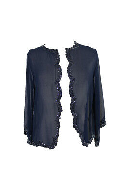 J Kara Navy Chiffon  Beaded Chiffon Jacket 6 Clothing, Shoes & Accessories