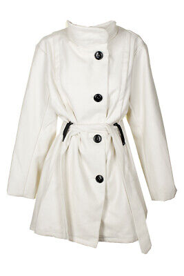 Madden Girl Junior'S Plus Size White Faux-Wool Belted A-Line Coat 2X Clothing, Shoes & Accessories