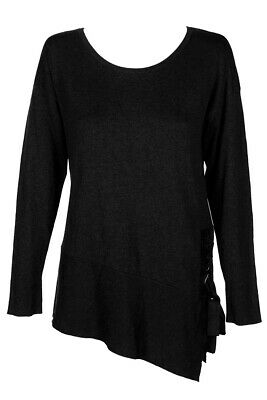 Inc International Concepts Deep Black Long-Sleeve Asymmetrical Lace-Up Sweater Clothing, Shoes & Accessories