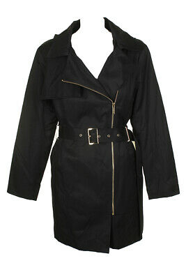 Michael Michael Kors Petite Black Asymmetrical Belted Rain Coat PXL Clothing, Shoes & Accessories