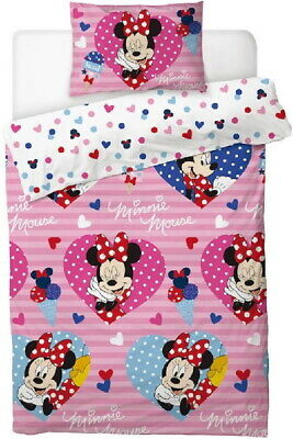 Disney Minnie Mouse Single Duvet Quilt Cover Set Girls Pink Bedroom