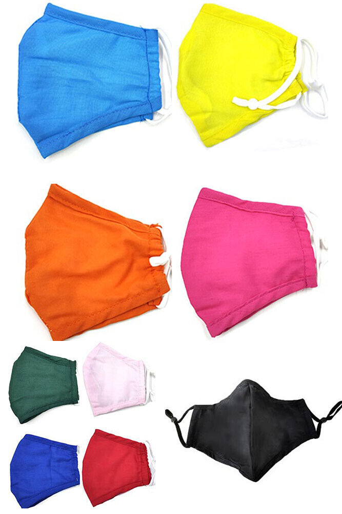 12 Pack Kids solid color cotton soft adjustable filter adjus