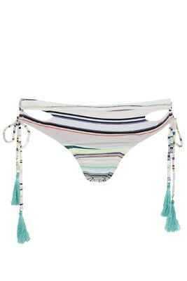 Bar Iii Blush Multi Striped Cutout Lace-Up Bikini Bottom S Clothing, Shoes & Accessories