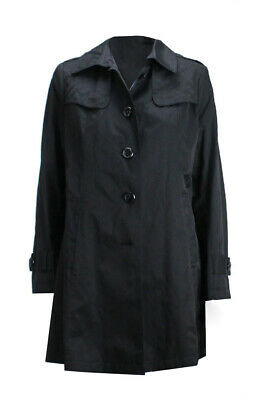 DKNY Petite Black Quilted Panel Button Front Trench Coat PL Clothing, Shoes & Accessories