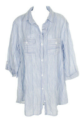 Dotti Blue White 3/4-Sleeve Cotton Chambray Shirtdress Cover-Up S Clothing, Shoes & Accessories