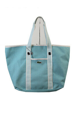 Lacoste Turquoise Canvas Large Shopping Bag OSFA Clothing, Shoes & Accessories
