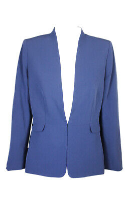 Tahari Asl Vintage Blue Collarless Blazer 10 Clothing, Shoes & Accessories
