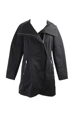 Bcbgeneration Black Quilted-Detail Trench Coat L Clothing, Shoes & Accessories