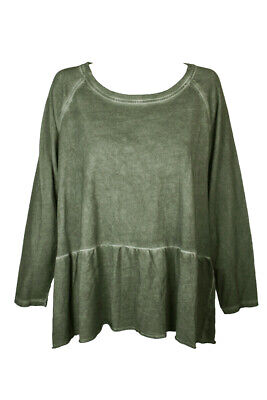 Style Co Plus Size Olive Green Crew Neck Long Sleeve High-Low Hem Ruffled Hem Clothing, Shoes & Accessories