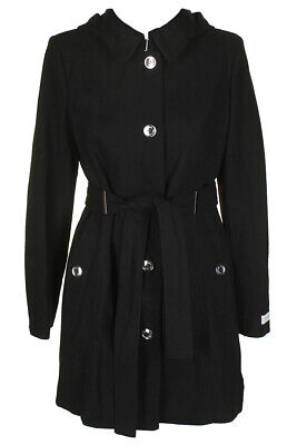 Calvin Klein Black Wool-Blend Belted Walker Coat  XXS Clothing, Shoes & Accessories