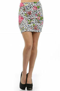Skirt-Mini-Floral-Leopard-Animal-Print-S-M-L-Pink-Fold-Over-Waist-Summer-New