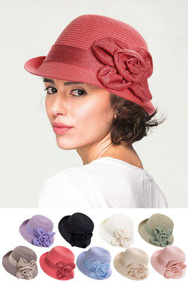ScarvesMe C.C Exclusive Women Fashion Woven Cloche Hat with Flower Sun Brim Hat