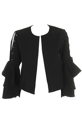 Vince Camuto Rich Black Bell Lace-Up Sleeve Jacket  2 Clothing, Shoes & Accessories