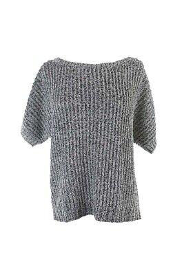 Rachel Rachel Roy Grey Marled Short-Sleeve Boat Neck Sweater M Clothing, Shoes & Accessories