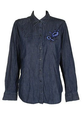 Lauren Ralph Lauren Navy Blue  Embroidered Full Button Long Sleeve Collared Top Casual Button-Down Shirts