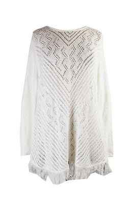 Style & Co Cloud White Eyelet Fringed Sweater XL Clothing, Shoes & Accessories