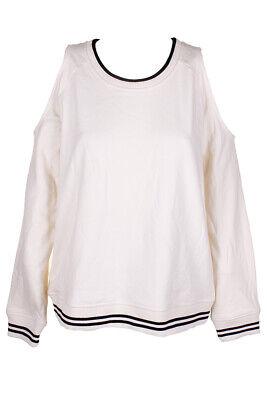 Lauren Ralph Lauren Ivory Black Cold-Shoulder Crew Neck Long Sleeve Sweatshirt Clothing, Shoes & Accessories
