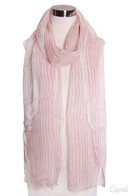 Jinscloset Women's Fashion Linen Extra Long Striped Scarf Extra Long Fashion Scarf