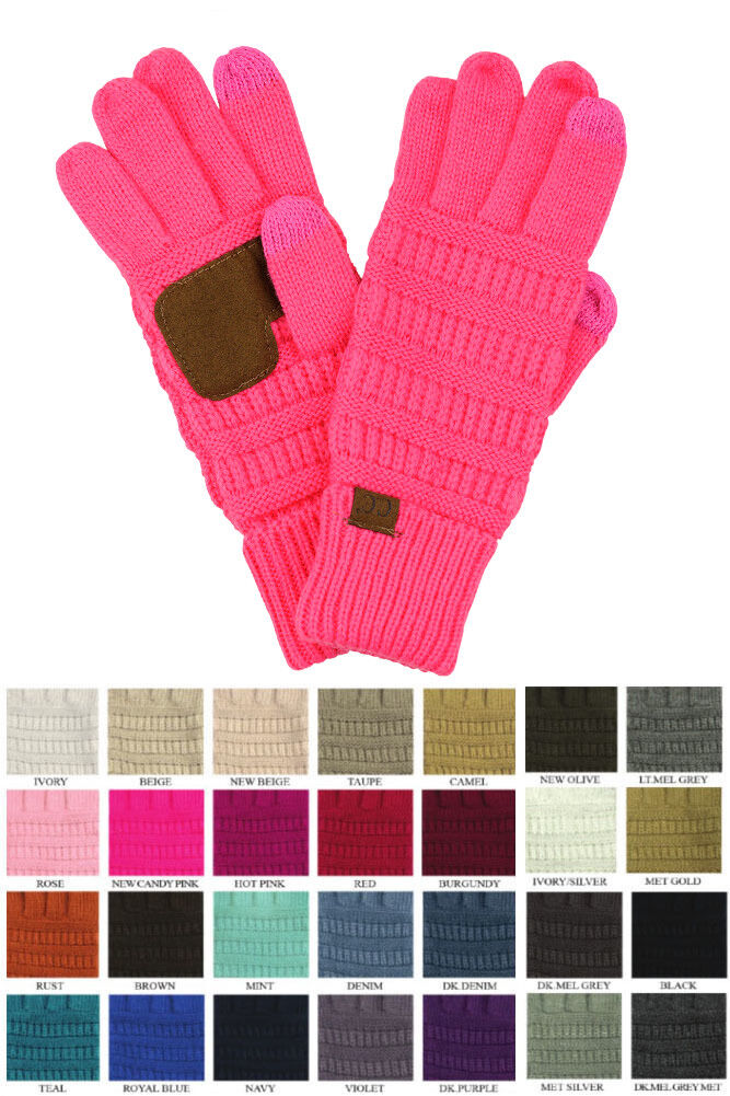 CC Gloves Solid Color Unisex Cable Knit Winter Warm Anti-Slip Touchscreen Gloves