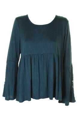 Style & Co Blue Crochet-Trim Bell-Sleeve Keyhole Back Jersey Top M