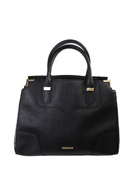 Rebecca  Minkoff  Black Gold Amorous Satchel OSAF Clothing, Shoes & Accessories