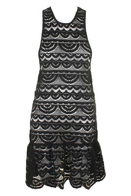 Miken Swim Black Sleeveless Crochet Racerback Drop-Waist Dress Cover-Up XS Clothing, Shoes & Accessories